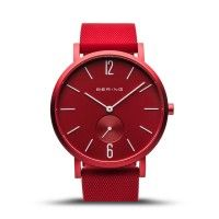 BERING Time True Aurora Collection Resin 16940-599 Red Dial Unisex-adult 40-mm Quartz Sapphire crystal. Designed in Denmark Wrist Watch