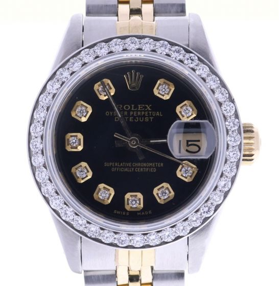 Rolex DateJust Steel-and-18k-gold 69173 Black Dial Womens 26-mm Automatic Watch