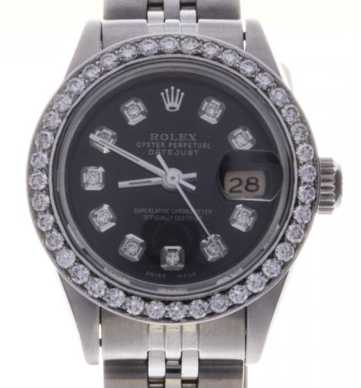 Rolex DateJust Stainless-steel 69160 Black Dial Womens 26-mm Automatic Watch