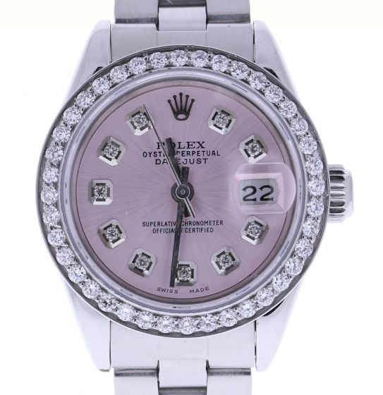 Rolex Lady Oyster DateJust Stainless-steel 69160 Pink Dial 26-mm Automatic watch
