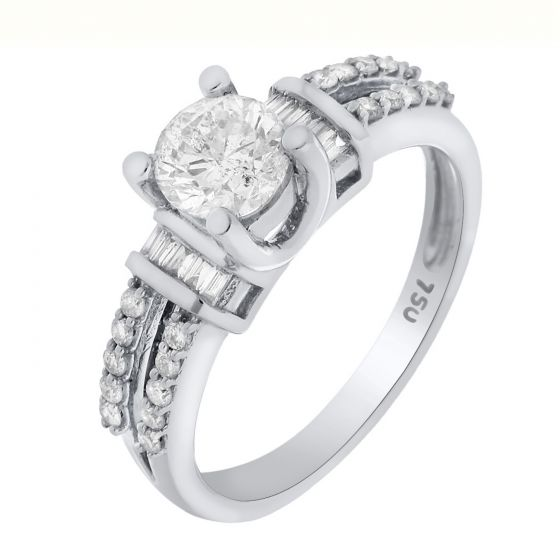 0.96 Ct. T.W. Diamond Ring In 18 Karat White Gold