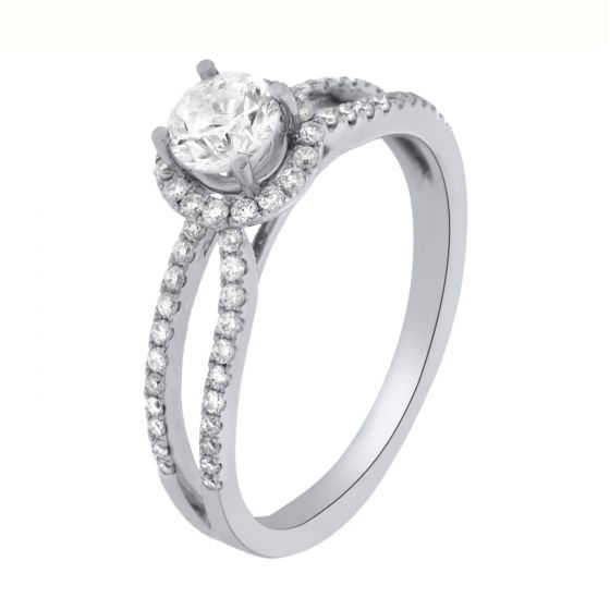 0.75 Ct. T.W. Halo Diamond Ring in 18 Karat White Gold