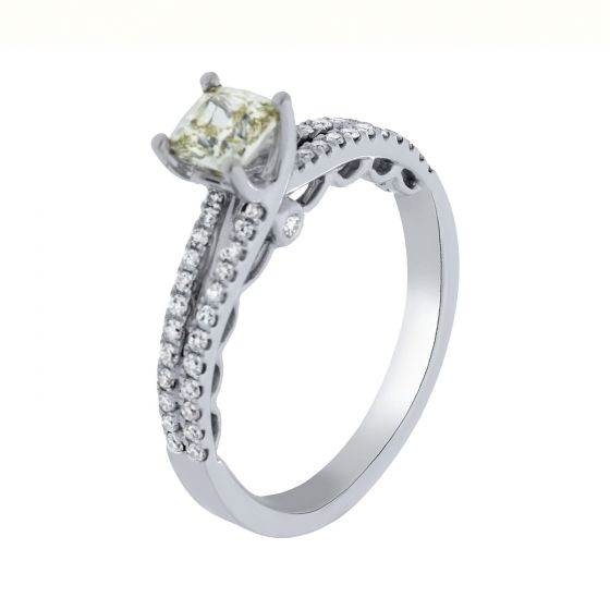 1.07 Ct. T.W. Diamond Ring in 18 Karat White Gold