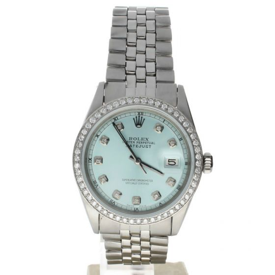 Rolex DateJust 36 Stainless-steel 1601 Blue Dial Men's 36-mm Automatic-self-wind Sapphire crystal. Swiss Made Wrist Watch