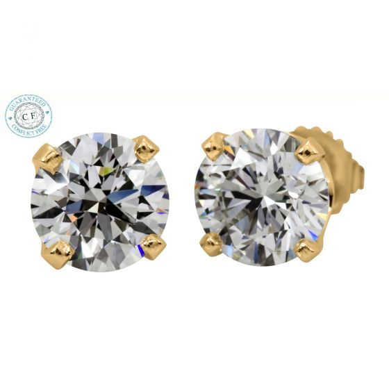 0.80ct t.w.t Round Diamond Yellow Gold Stud Earring