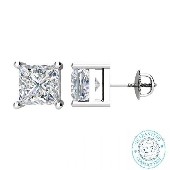 1.04ct t.w.t. Princess Diamond Stud in 14K White Gold