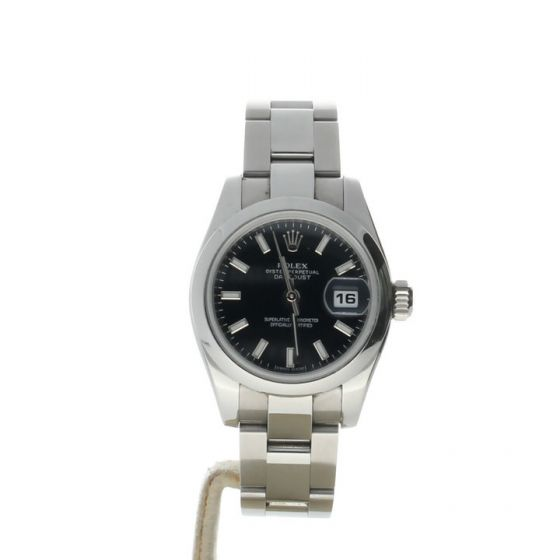 Rolex DateJust 26 Stainless-steel 179160 Black Dial Women's 26-mm Automatic-self-wind Sapphire crystal. Swiss Made Wrist Watch