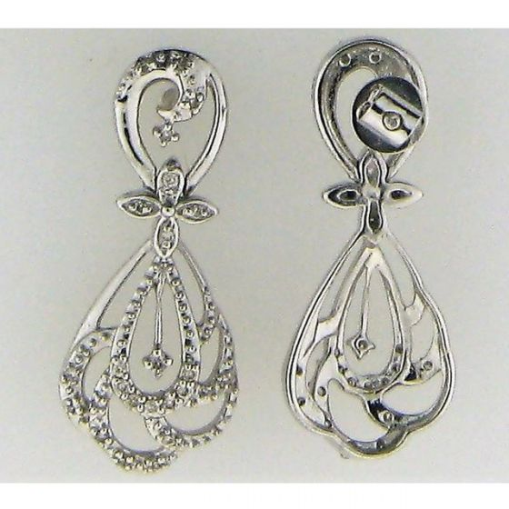 Cluster Earring 0.24ct Diamond & 0.24ct Round in 14k WG