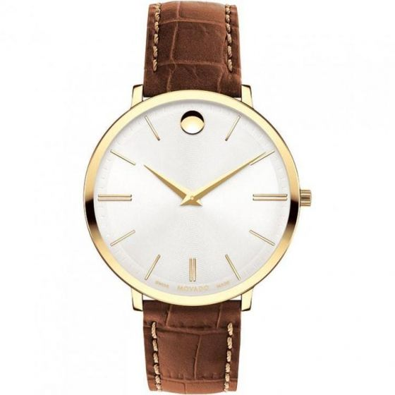 Movado Ultra Slim Stainless-steel 0607176 White Dial Womens 35-mm Quartz Sapphire crystal. Swiss Made Wrist Watch