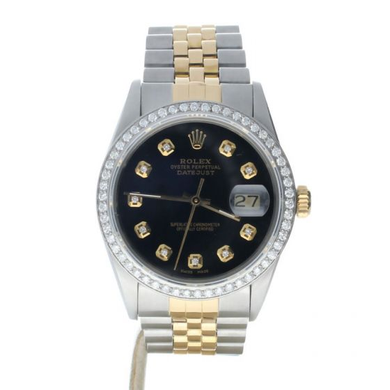 Rolex DateJust 36 Stainless-steel 16013 Black Dial Mens 36-mm Automatic self-wind Sapphire crystal. Swiss Made Wrist Watch