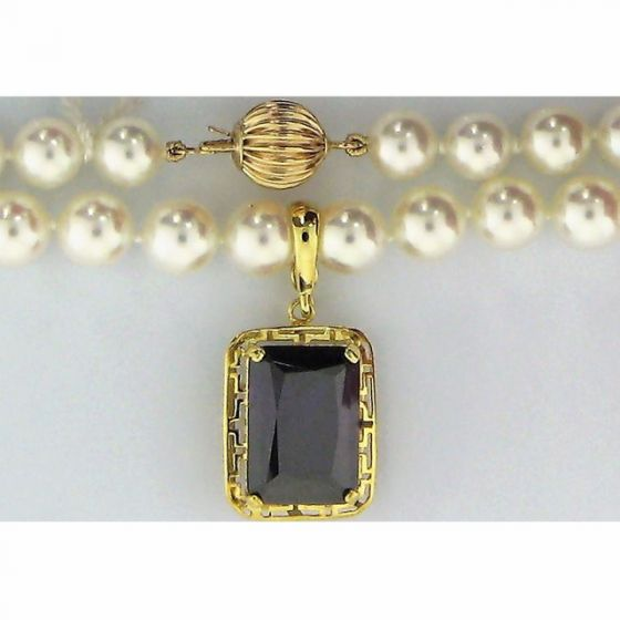 Purple Synthetic CZ Stone in Rectangle Shape & Round  Pearl Necklace 14k YG - 187809