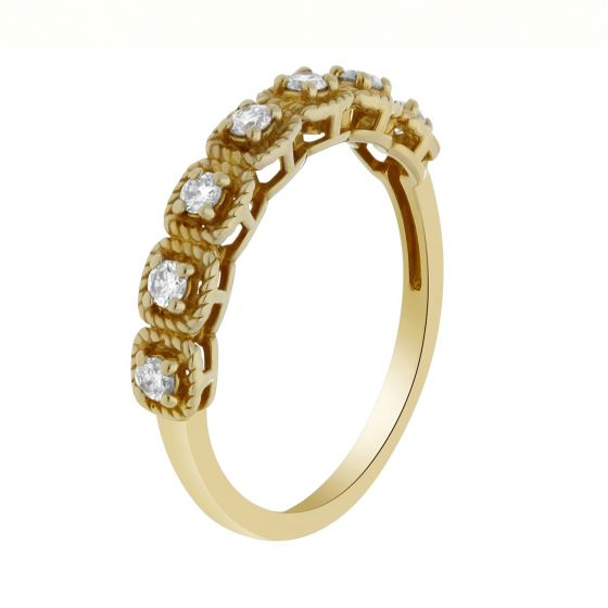 0.25 ct twt Round Diamond Seven-Stone Band in 18k Yellow Gold