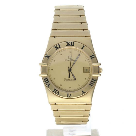 Omega Constellation Yellow-gold 398.0872 Champagne Dial Women's 33-mm Quartz Sapphire crystal. Swiss Made Wrist Watch