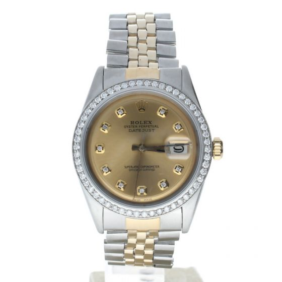 Rolex DateJust 36 Stainless-steel 1601 Champagne Dial Men's 36-mm Automatic Sapphire crystal. Swiss Made Wrist Watch