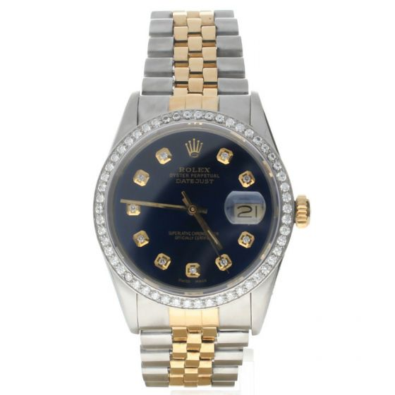 Rolex Datejust 36 Stainless-steel 16013 Blue Dial Men's 36-mm Automatic-self-wind Sapphire crystal Wrist Watch