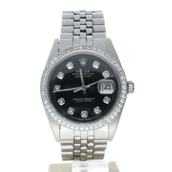 Rolex Datejust 36 Stainless-steel 1603 Black Dial Men's 36-mm Automatic-self-wind Sapphire crystal. Swiss Made Wrist Watch