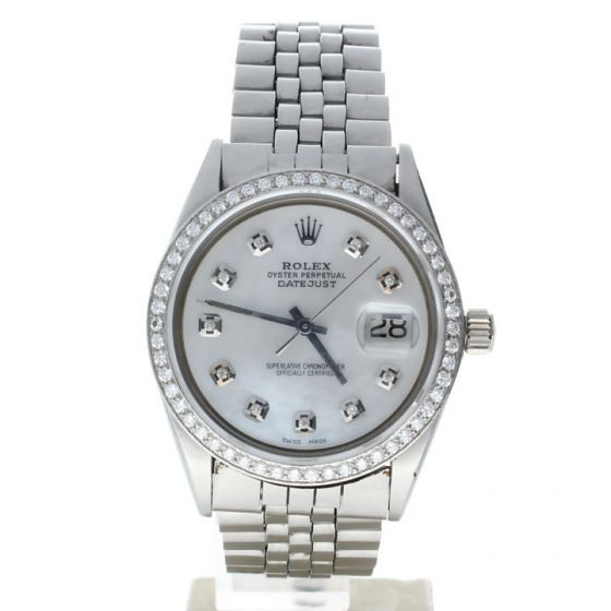 Rolex Datejust 36 Stainless steel 1603 MOP Dial Men's 36-mm Automatic-self-wind Sapphire crystal. Swiss Made Wrist Watch