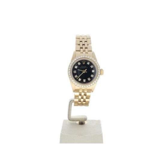 Rolex Oyster Perpetual 26 Yellow-gold 69178 Black Dial Women's 26-mm Automatic-self-wind Sapphire crystal. Swiss Made Wrist Watch