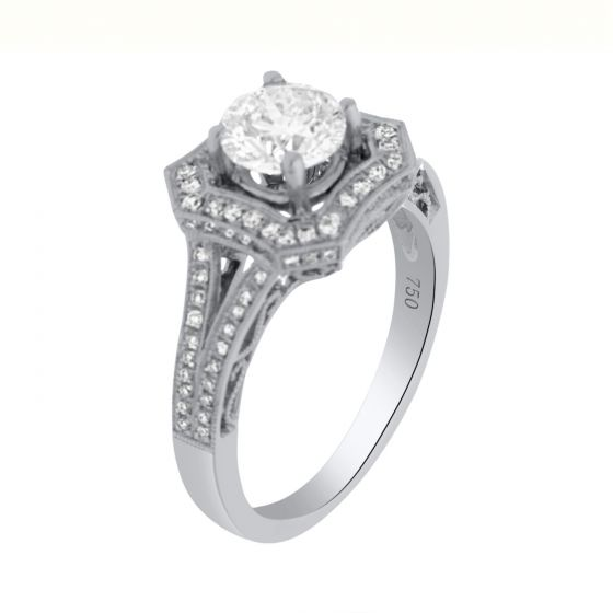 1.40 Ct. T.W. Diamond Ring In 18 Karat White Gold