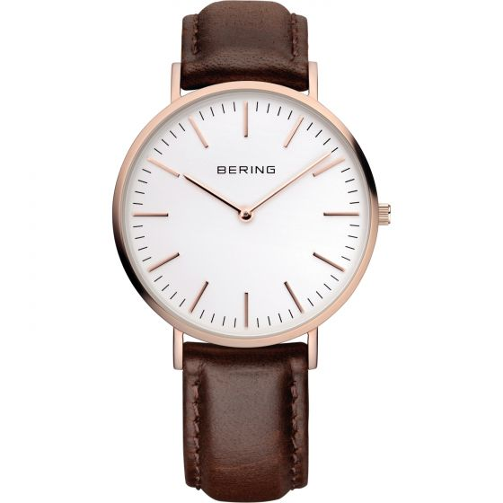 BERING Time 13738-564 Classic Collection Watch with Calfskin Band.