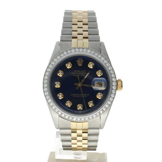 Rolex DateJust 36 Stainless-steel 1601 Blue Dial Mens 36-mm Automatic self-wind Sapphire crystal. Swiss Made Wrist Watch