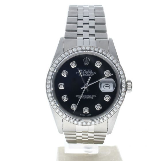 Rolex DateJust 36 Stainless-steel 16030 Black Dial Mens 36-mm Automatic self-wind Sapphire crystal. Swiss Made Wrist Watch
