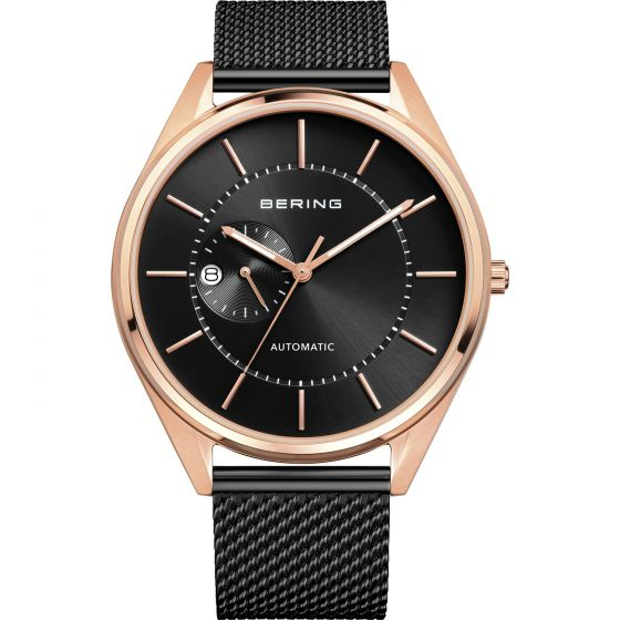 BERING Time Automatic Collection Stainless-Steel 16243-166 Black Dial Mens 43-mm