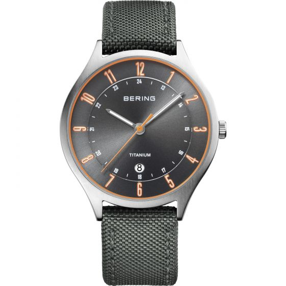 BERING Time 11739-879 Men Titanium Collection Watch with Nylon Strap..
