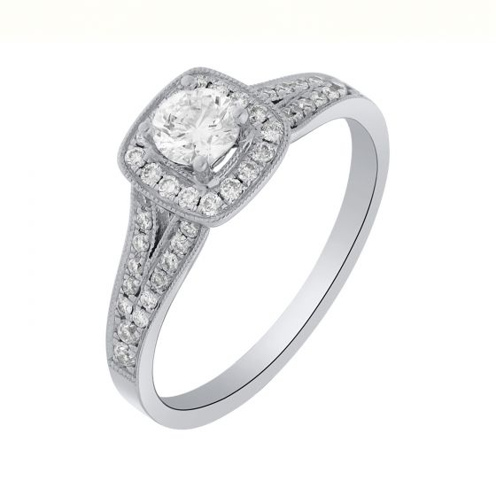 0.61 Ct. T.W. Diamond Rings In 18 Karat White Gold