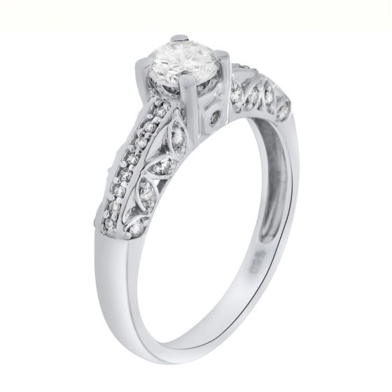 1.17 Ct. T.W. Side Diamond Ring in 18 Karat White Gold