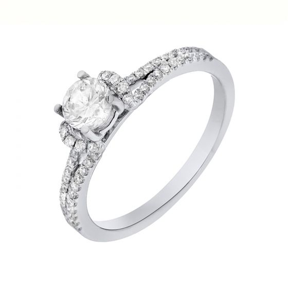 0.93 Ct. T.W. Diamond Ring in 18 Karat White Gold