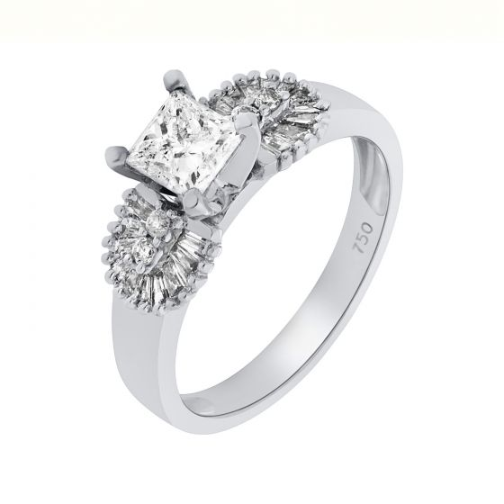 0.98 Ct Twt Princess Cut Side Stones Diamond Ring In 18k White Gold
