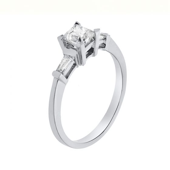 0.85 Ct. T.W. Three-Stones Ring in 18 Karat White Gold