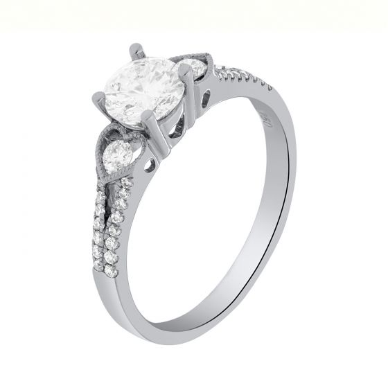 1.01 Ct. T.W. Diamond Ring in 18 Karat White Gold