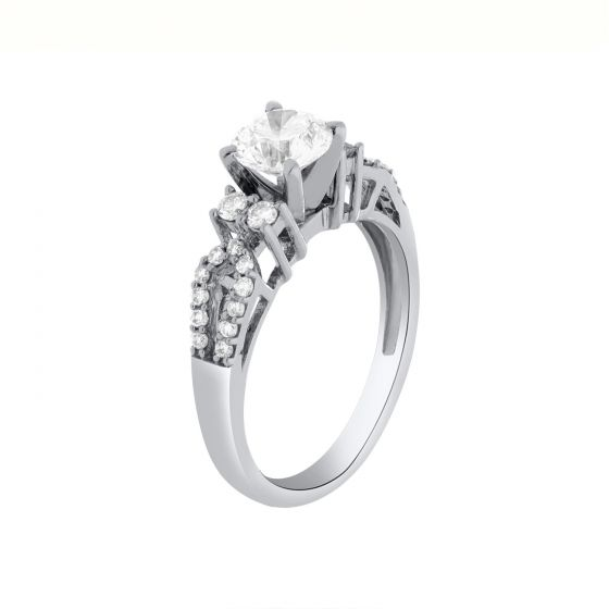 1.21 Ct. T.W. Diamond Ring in 18 Karat White Gold
