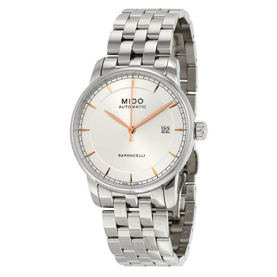 Mido M86004101 Watch Baroncelli II Mens M8600.4.10.1 Silver Dial Stainless Steel Case Automatic Movement