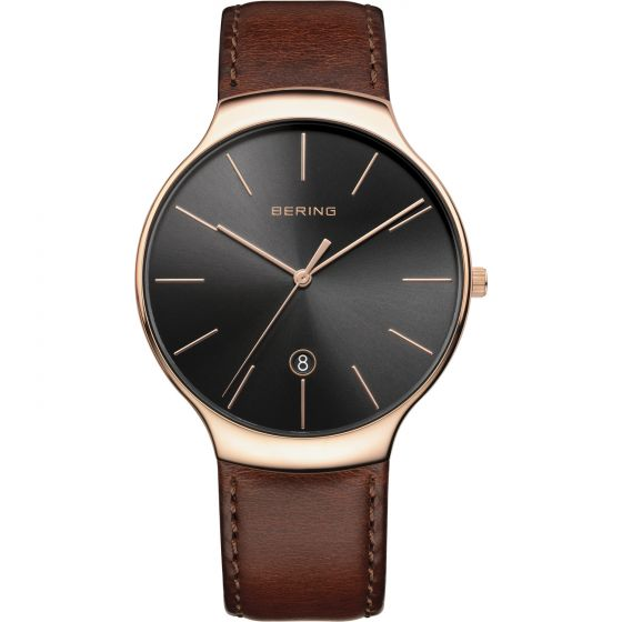 BERING Time 13338-562 Unisex Classic Collection Watch with Calfskin Strap..