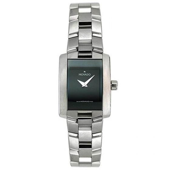 Movado Stainless-steel 604133 Black Dial Womens 22-mm Quartz Sapphire crystal. S