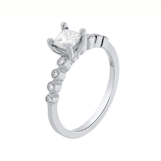 0.50ct Princess & 0.11ct Round Diamond Ring in 18k White Gold-140717