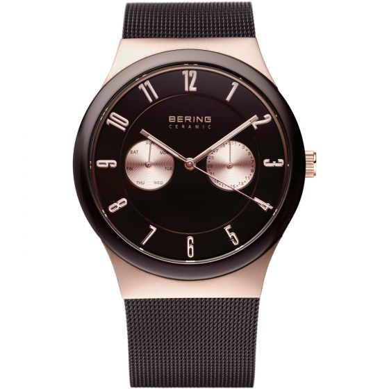 BERING Time 32139-265 Unisex Ceramic Collection Watch with Mesh Band.