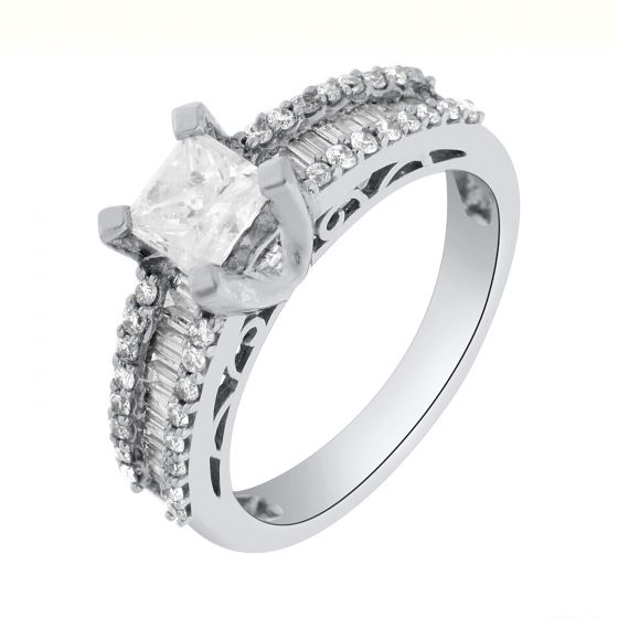 1.25 ct twt PrincessCut Side Stones Diamond Ring in 18k White Gold