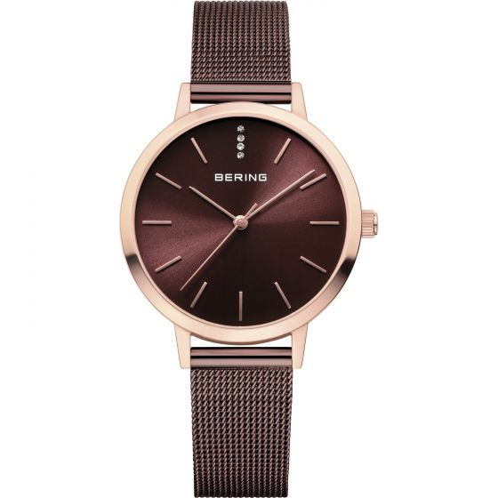 BERING Time Classic Collection Stainless-Steel 13434-265 Brown Dial Womens 34-mm