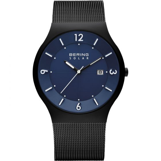BERING Time 14440-227 Mens Solar Collection Watch with Mesh Band.