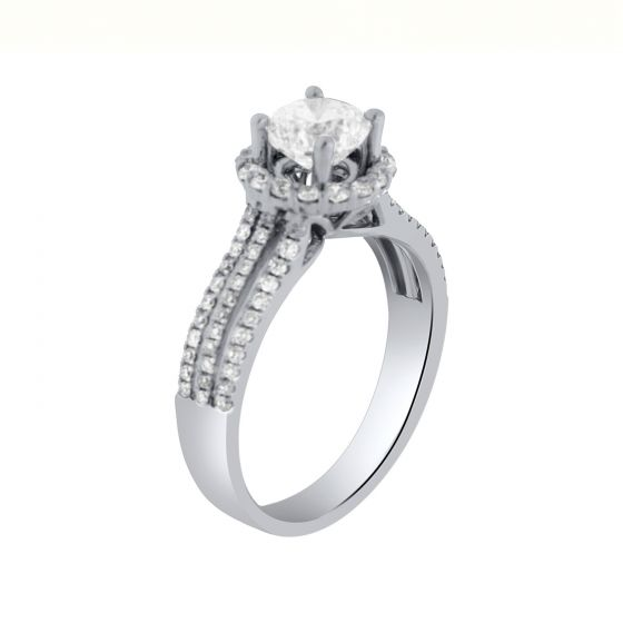 1.52 Ct. T.W. Halo Diamond Ring in 18 Karat White Gold