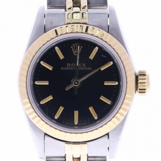 Rolex Oyster Perpetual 26 Steel-and-14k-gold 67193 Black Dial Womens 26-mm Autom