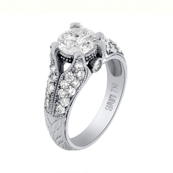 2.24 Ct. T.W. Side Stone Ring in 18 Karat White Gold