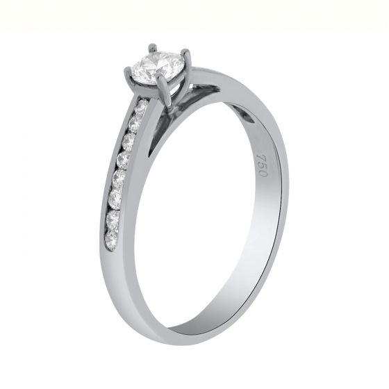 0.44 Ct. T.W. Diamond Ring In 18 Karat White Gold