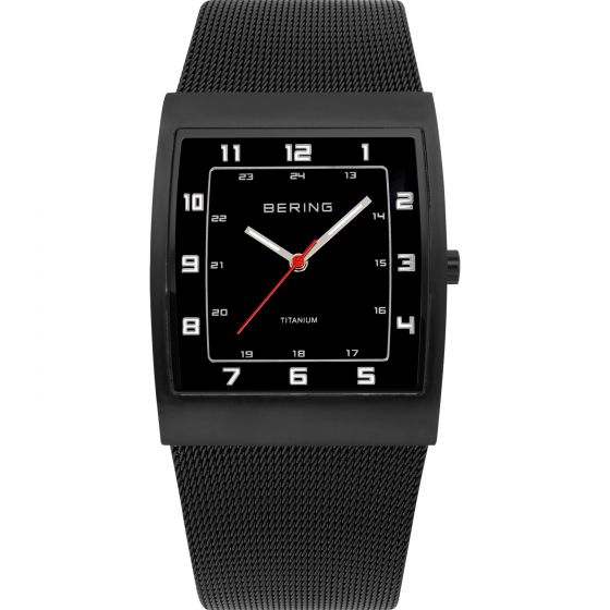 BERING Time 11233-222 Mens Titanium Collection Watch with Mesh Band.