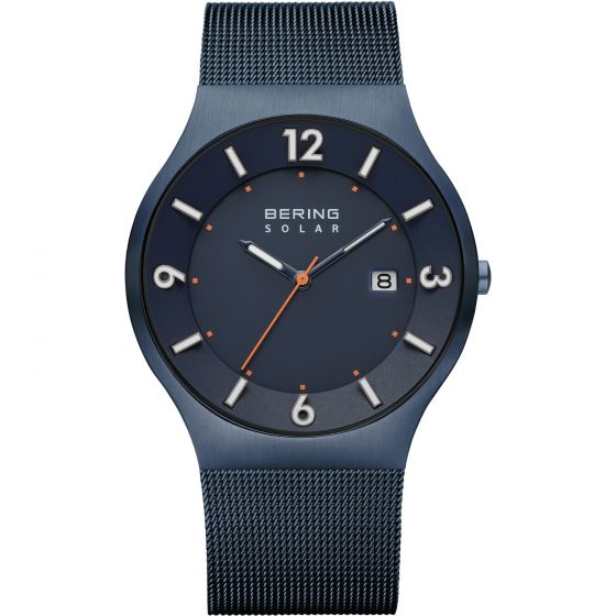BERING Time 14440-393 Mens Solar Collection Watch with Mesh Band.