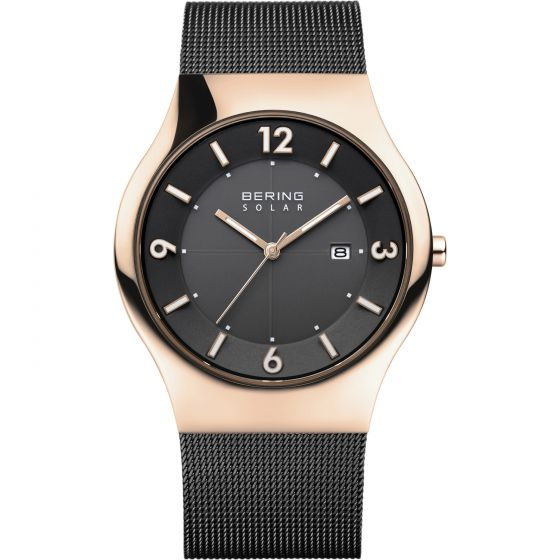 BERING Time 14440-166 Mens Solar Collection Watch with Mesh Band.